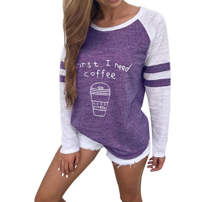 Autumn Round Neck Letter Coffee Cup Printed Long sleeve T shirt Women Bottoming Shirt Woman Loose Tops