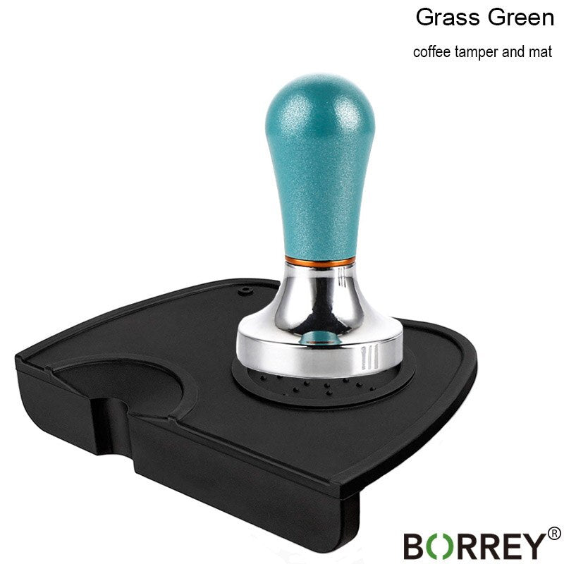 BOEERY Stainless Steel Coffee Tamper 57mm Coffee Powder Hammer Flat Silicone Coffee Tamper Holder