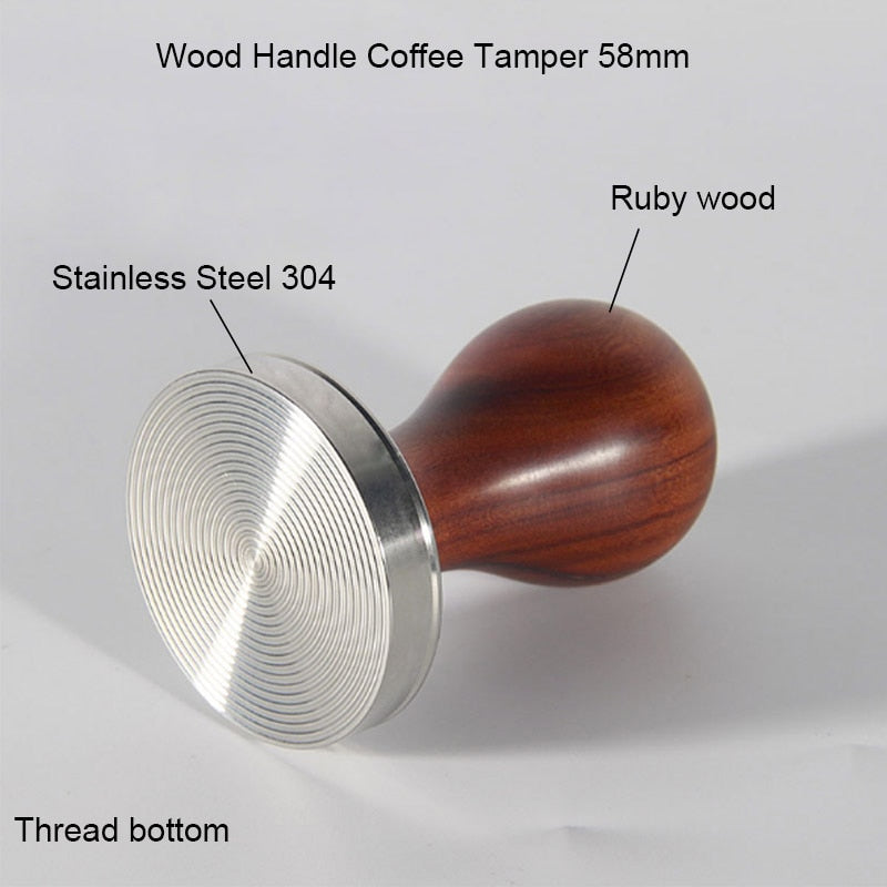 BORREY Espresso Coffee Tamper 58mm Stainless Steel Coffee Tamper Stand With Solid Wood Handle Coffee