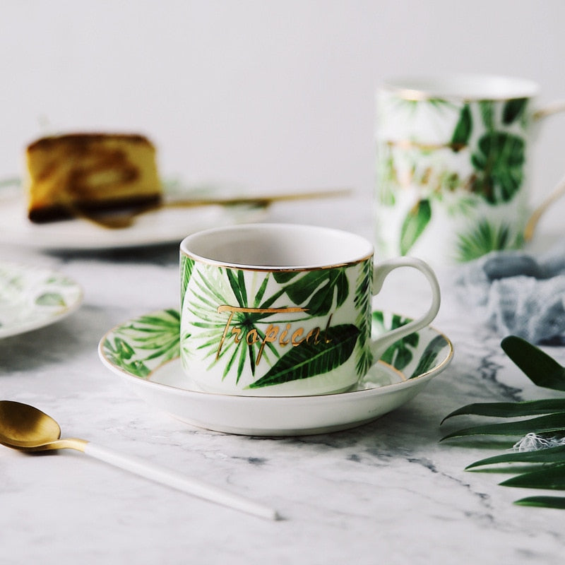 Best Bone China Small Coffee Cup And Saucer Teacup Porcelain Green Plant Pattern Outline In Gold