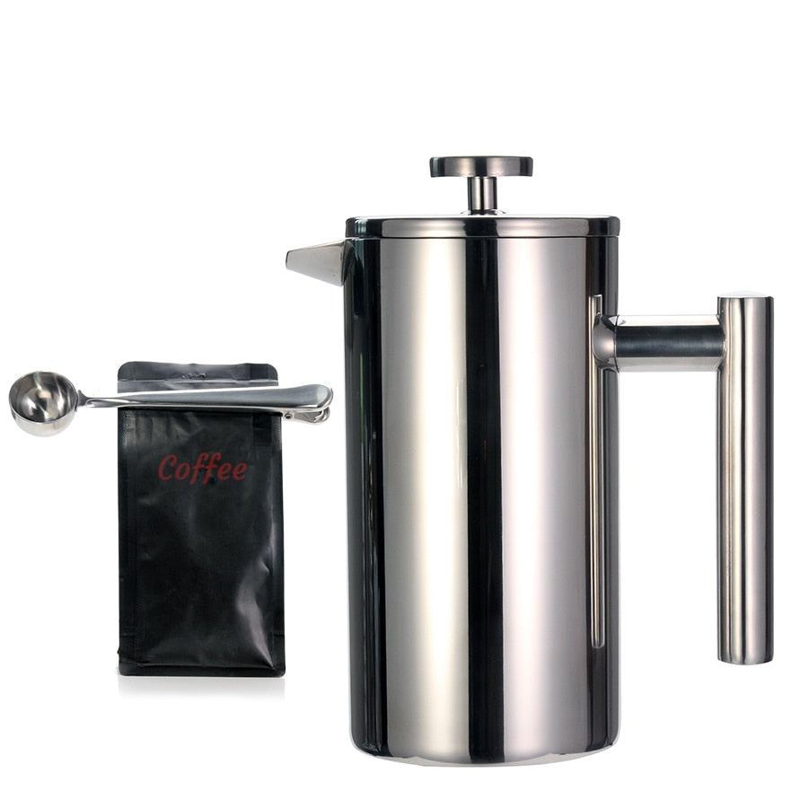 Best French Press Coffee Maker - Double Wall 304 Stainless Steel - Keeps Brewed Coffee or Tea