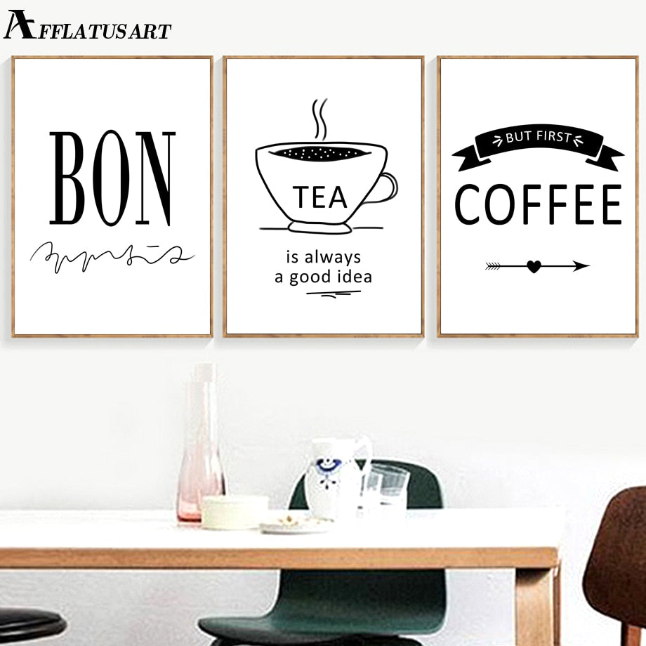 Bon Tea Coffee Quotes Nordic Posters And Prints Wall Art Canvas Painting Black White Wall Pictures For Living Room Coffee Shop