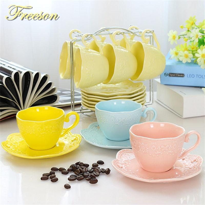 Brief Emboss Porcelain Coffee Cup Saucer Spoon Set 200ml Ceramic Tea Cup Europe Cafe Party Teatime