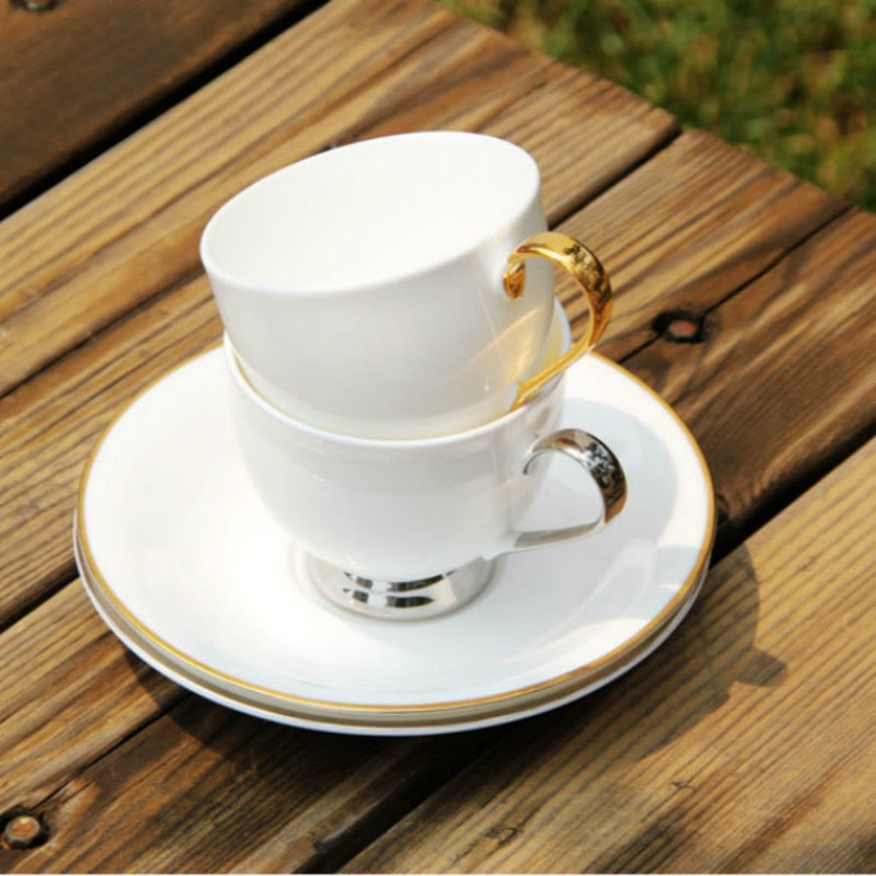 British Royal Phnom Penh Silver Edge Cups & Saucers Cat Feces Coffee Cup Cappuccino Cup and Saucer