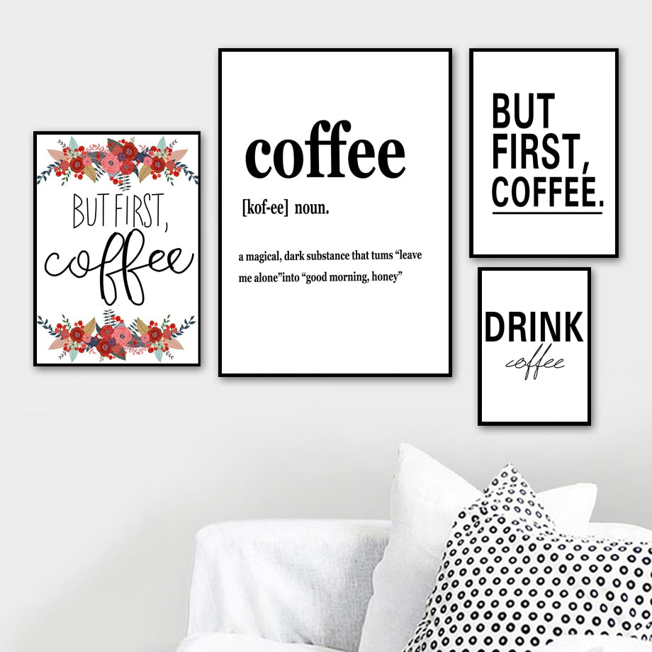 But First Coffee Quotes Wall Art Canvas Painting Nordic Posters And Prints Wall Pictures For Kitchen Western Restaurant Decor