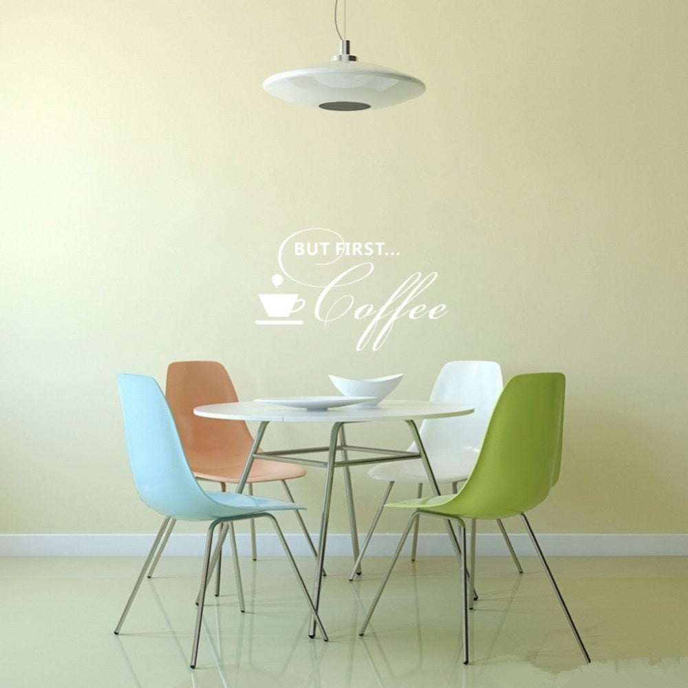 But First Coffee Quotes Wall Decal Vinyl Art lettering kitchen Sticker for Cafe Restaurant Room