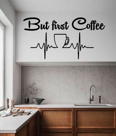 But first coffee Kitchen Decor Wall Decal Vinyl Stickers Coffee Cup Mural Idea Home Decor Dining Cafe Bar Wallpaper D508