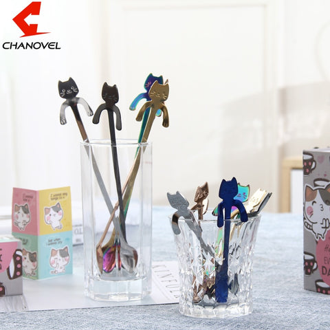 CHANOVEL 1Pcs Stainless Steel Cartoon Cat Spoon Creative Coffee Spoon Ice Cream Candy Teaspoon