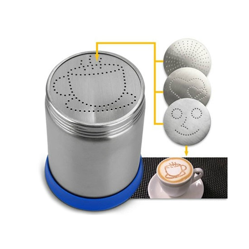 Cappuccino Latte Art Tool Cocoa Powder Dispenser Tank w/Mould Chocolate Shaker Duster + Cappuccino