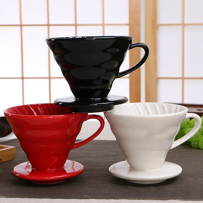Ceramic Coffee Dripper Engine V60 Style Coffee Drip Filter Cup Permanent Pour Over Coffee Maker with