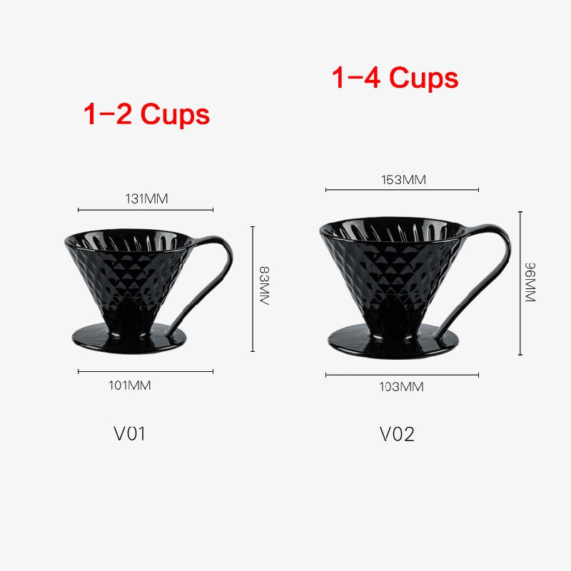 Ceramic Coffee Filters V60 Coffee Drip Filter Cup Diamond shape Permanent Pour Over Coffee Maker