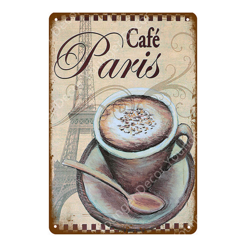 Classic Cafe Mocha Metal Tin Signs Drink Tea Coffee Vintage Poster Wall Plate For Bar Home Kitchen Decor Art Craft Wall Sticker