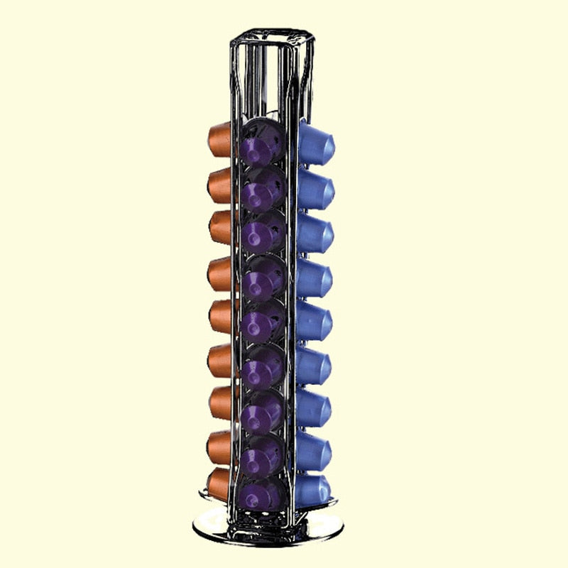 Coffee Capsules Dispensing Tower Stand Coffee Pod Holder Dispenser Fits Nespresso Capsule Storage