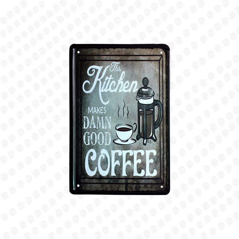 Coffee Chocolate Plates Retro Tin Sign Tavern Cafe Barber Shop Home Kitchen Restaurant  Decor Wall Sticker Poster