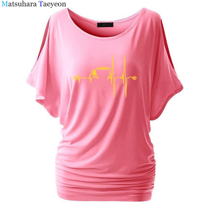 Coffee Heartbeat Graphic Tees Women Tumblr Hipster Punk Harajuku T-shirt Summer Funny t shirts Top Tee shirt femme T35