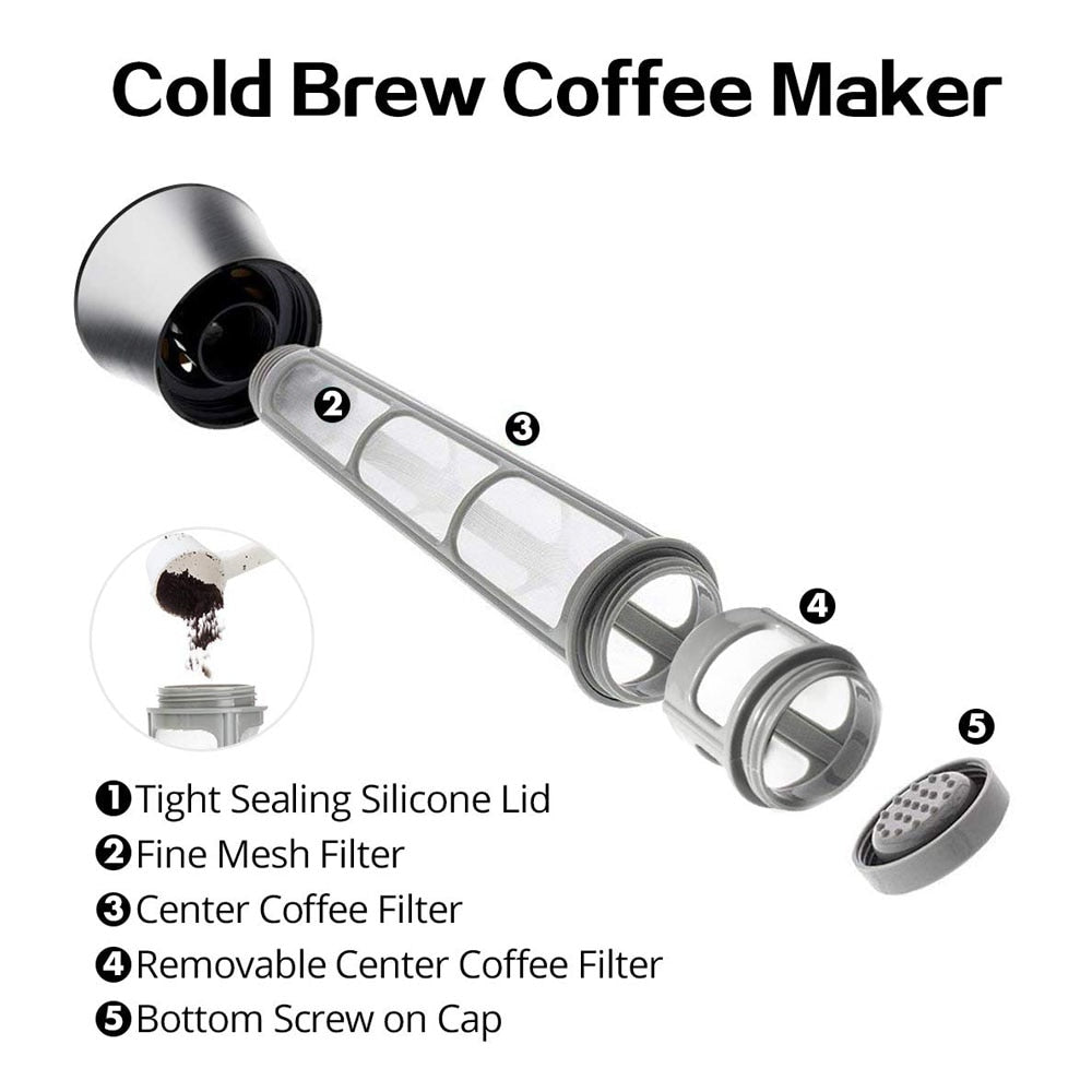Coffee Maker Pot Mocha Cold Brew Cafetera Filter Coffee Pot Leakproof Thick Glass Tea Infuser