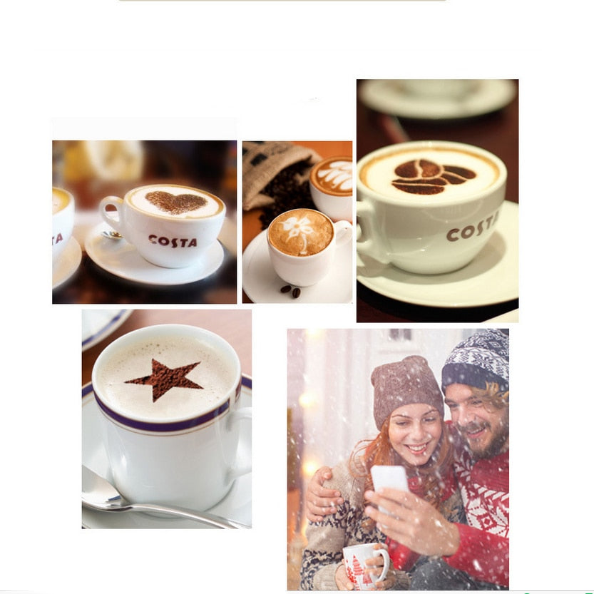 Coffee Printing Model Stainless Steel Coffee Tools Cafe Foam Spray Template Barista Stencils