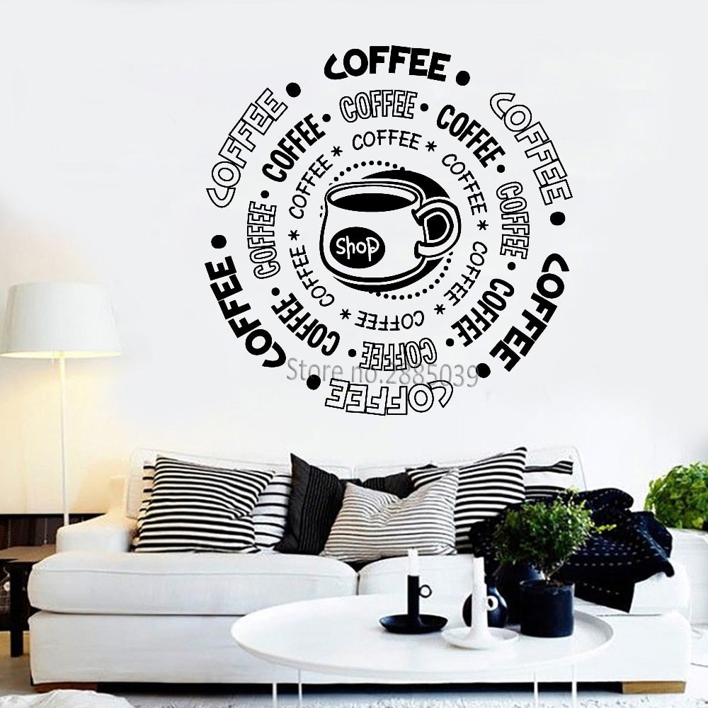 Coffee Shop Sticker Vinyl Wall Decal Coffee cup Word Posters Art Coffee Store Wall Decor Wallpaper Sign Vinilos Paredes LC834