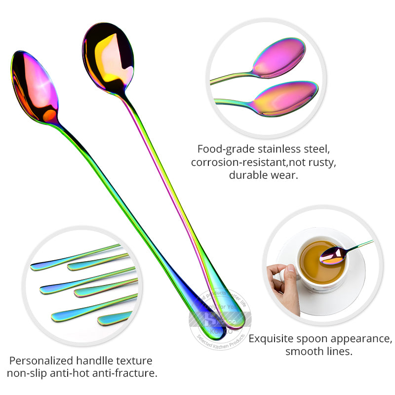 Coffee Spoon Tea Spoons Stainless Steel Flatware Rainbow Espresso Ice Cream Dessert Spoons Coffee