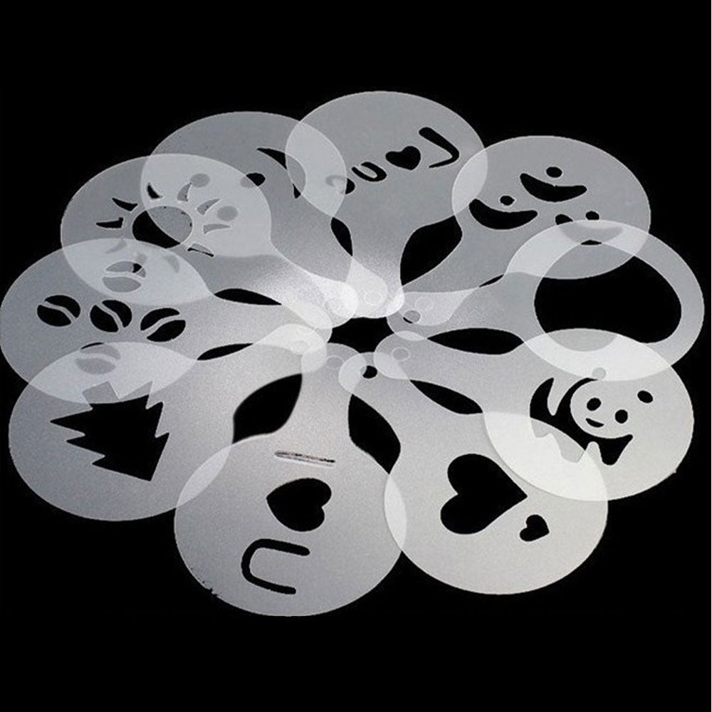 Coffee Stencils 16pcs/Set Drawing Die Tools Fancy Coffee Printing Model Plastic Spray Template