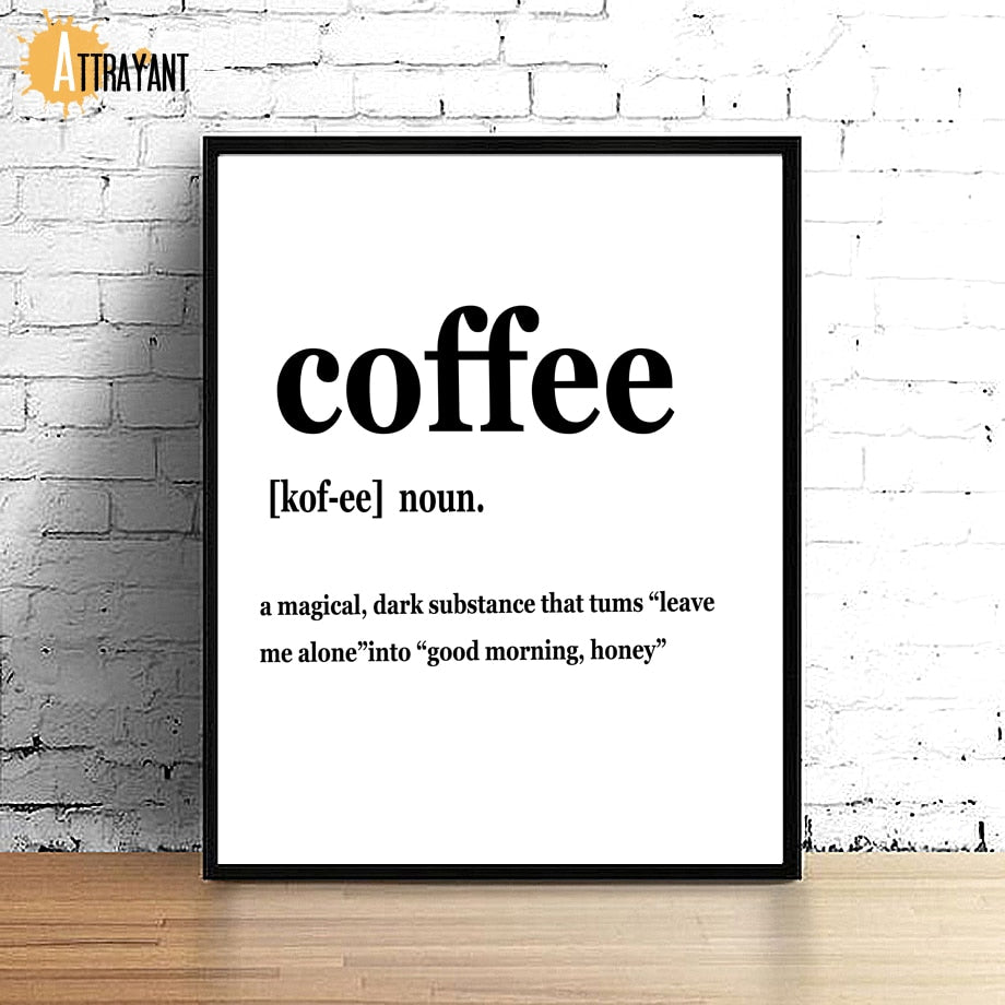 Coffee Tea Quote Black White Minimalism Wall Art Canvas Painting Nordic Posters And Prints Wall Pictures For Living Room Decor