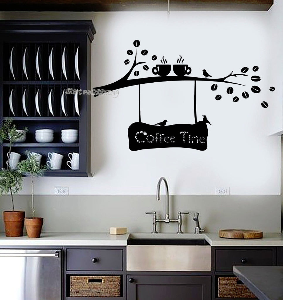 Coffee Time Quotes Vinyl Wall Decal Coffee Beans Branch Cup Birds Kitchen Decor Art Cafe Shop Wall Stickers Fashion Mural LA522