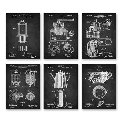 Coffee Vintage Patent Illustration Art Prints 6 in 1 set  Coffee Shop wall Decor Coffee Gift Coffee Wall kitchen wall