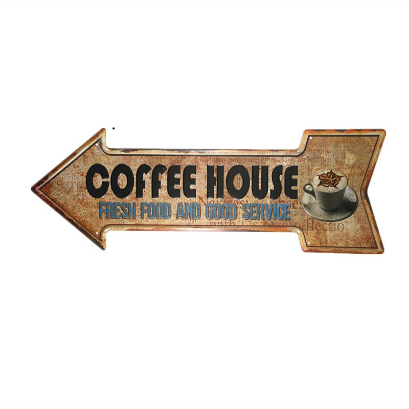 Coffee sold here arrow metal sign vintage coffee posters wall decor coffee sign