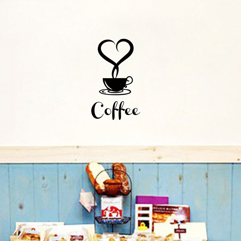 Coffee wall sticker shop Restaurant wall decor decals home decorations kitchen removable vinyl wall art diy decorative sticker