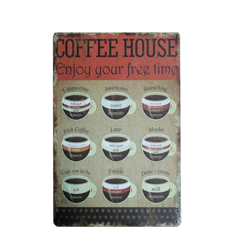 Coffees Menu Vintage Tin Signs Bar Pub Home Wall Decor Retro Cafe Decorative Painting Metal Art Poster Plate 30x20cm A750