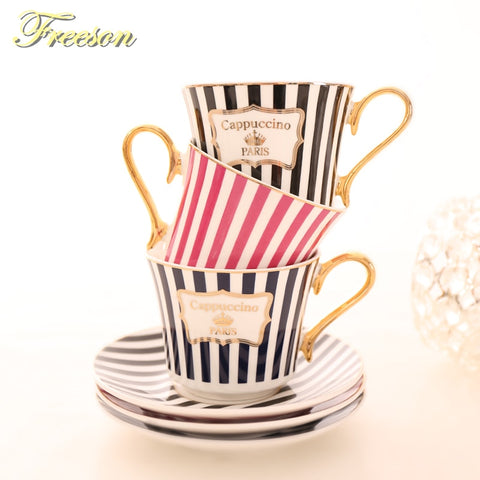 Concise Stripe Bone China Coffee Cup Saucer Gold Spoon Set Elegant Ceramic Tea Cup 225ml Porcelain