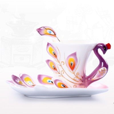Creative 3D Hand Crafted Porcelain Enamel Peacock Coffee Cup Set with Saucer And Spoon Present