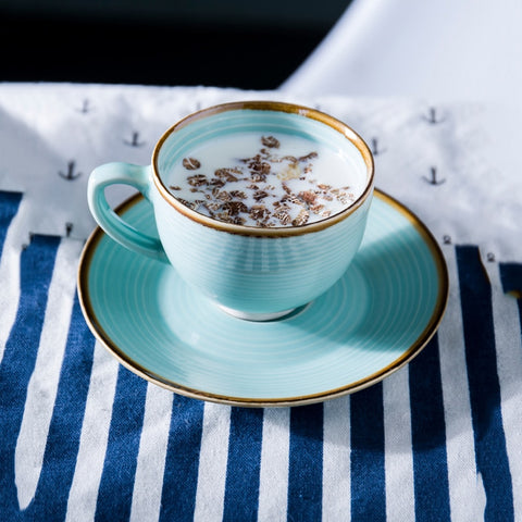Creative two sets of embossed stripes coffee cups and saucers European-style vintage ceramic