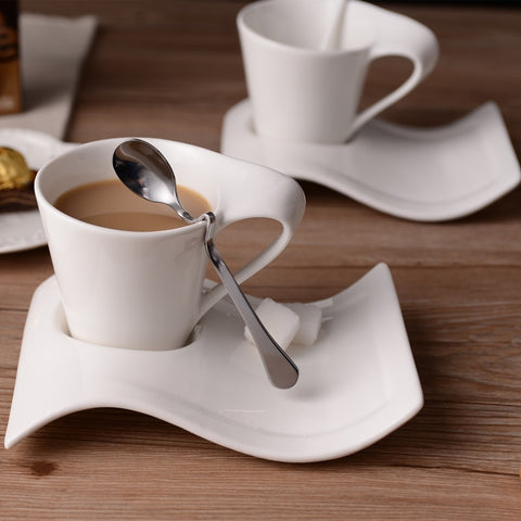 Creative wavy ceramic fancy coffee cup and saucer set European small luxury couple 200ml coffee cup