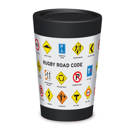 Cuppa Coffee Cup - Rugby Rode Code by NZ Artist Glenn Jones - Large (12oz/350ml)