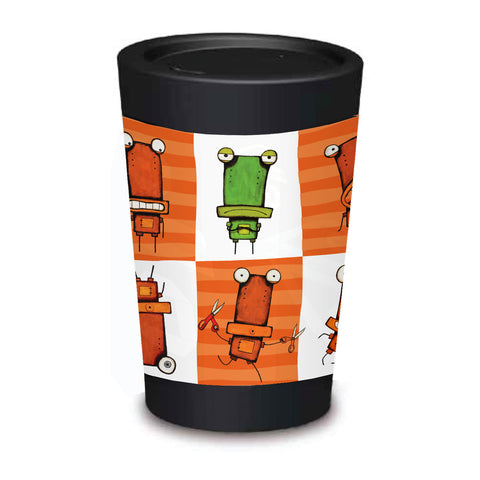 Cuppa Coffee Cup - Tinman Squares by NZ Artist Tony Cribb - Large (12oz/350ml)