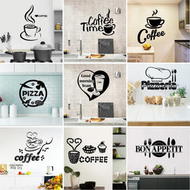 Custom kitchen Wall Stickers For Restaurant Decor pizza Coffee Home Decoration Vinyl Waterproof Wall Art Murals