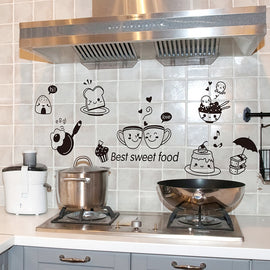 Cute DIY PVC Kitchen Wall Stickers Coffee Sweet Food Wall Decals Decoration Oven Dining Hall