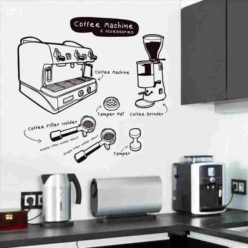 DCTAL Coffee Sticker Food Decal Cafe Poster Vinyl Art Wall Decals Pegatina Quadro Parede Decor Mural Coffee Sticker