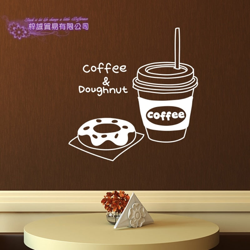 DCTAL Coffee Sticker Food Doughnut Decal Cafe Poster Vinyl Art Wall Decals Pegatina Quadro Parede Decor Mural Coffee Sticker