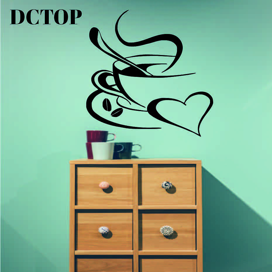 DCTOP A Cup Of Coffee Vinyl Art Wall Stickers Home Decor Creative Cafe Shop Stickers Wall Decoration