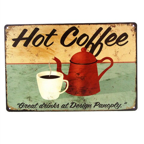 "DL- Vintage SIGN ""Coffee Bean"" Metal Wall Art Garage oil station Farm Shop Kitchen Cave"