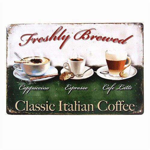 DL- Vintage home decor Classic Italian coffee wall sticker Wall Art Metal Decor Posters