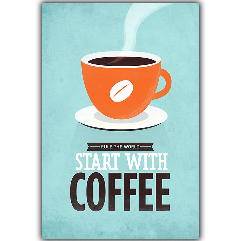 Decoration Coffee Canvas Painting Print Poster Cafe Modern Art Canvas Painting Wall Pictures for Kitchen  Cafe Unframed