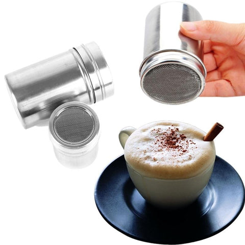Delidge 1 pc Multifunction Chocolate Cocoa Coffee Powder Blender Stainless Steel Saltcellar Pepper