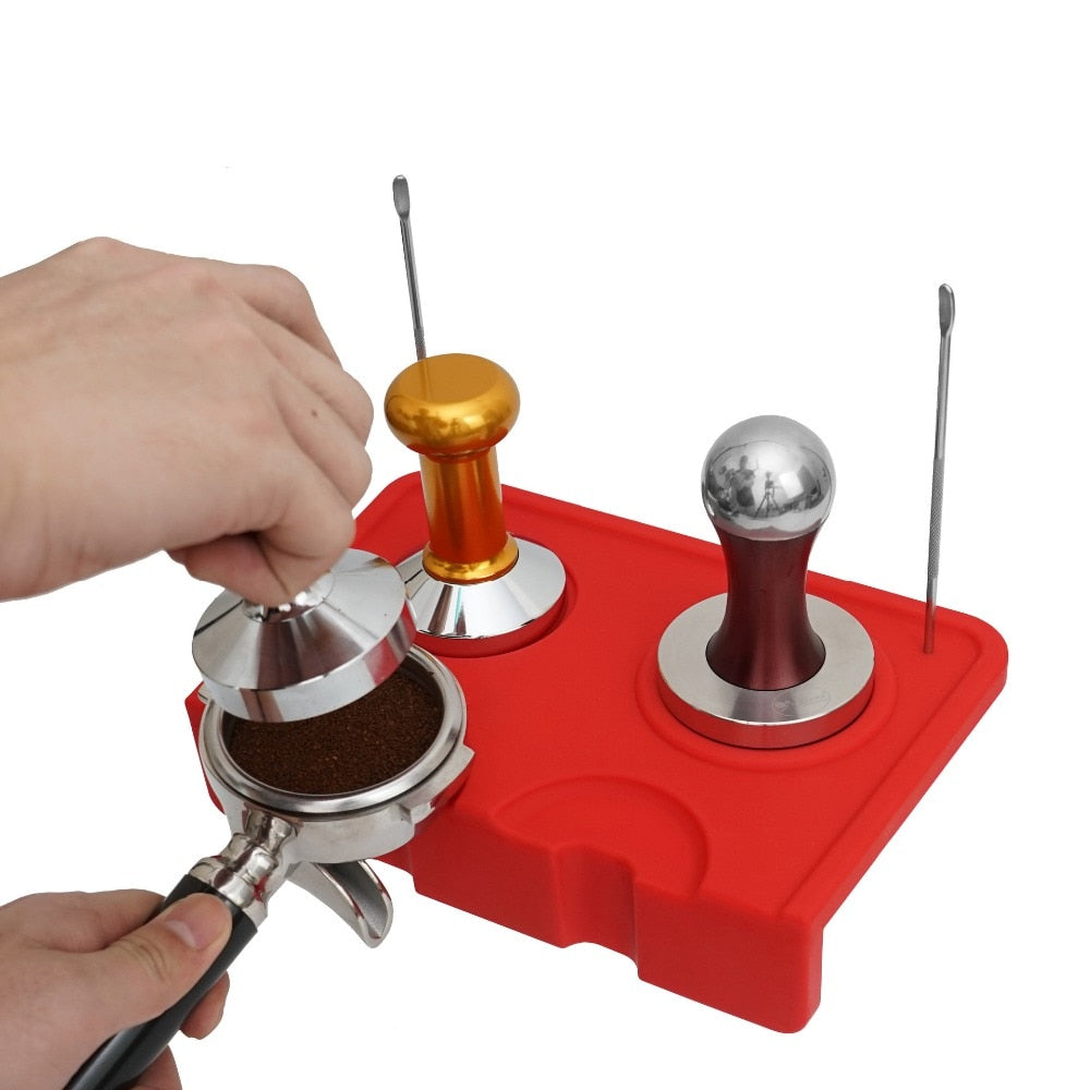 Double Coffee Tamper Mat Fluted Coffee Tampering Corner Mat Pad Tool Made For Baristas