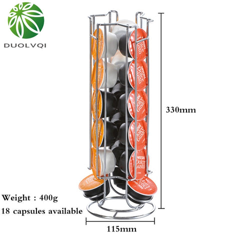 Duolvqi Metal Coffee Pod Holder Iron Chrome Plating Stand Coffee Capsule Storage Rack for 18pcs