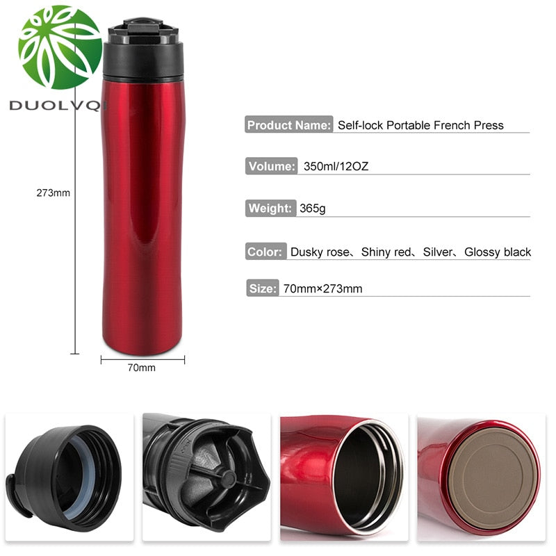 Duolvqi Portable French Press Pot Insulation Cold Stainless Steel Filter For Tea and Coffee Creative