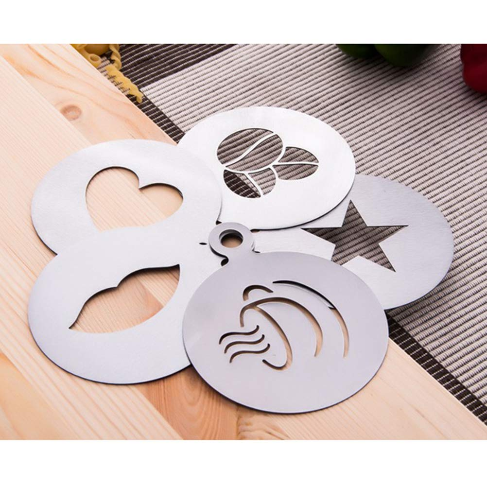 ERMAKOVA 6 Pcs Coffee Decorating Stencils Stainless Steel Coffee Art Stencils Barista Template for