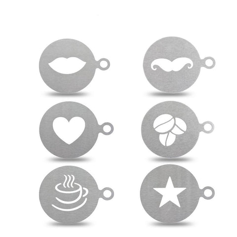 ERMAKOVA 6 Pcs/Set Stainless Steel Coffee Stencil Coffee Maker  Latte Art Mould Template Chocolate